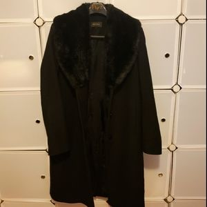 REISS WOOL COAT WITH FAUX FUR SHAW COLLAR